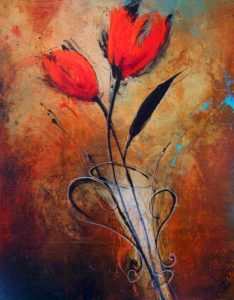 "SOLD ""All Ablaze,"" by Laura Harris 24 x 30 – acrylic/mixed media $1700 (thick canvas wrap without frame)"