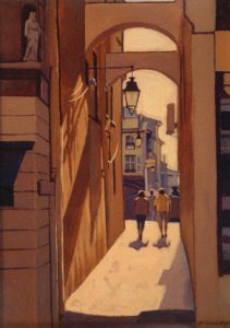"SOLD ""Alley Light,"" by Ray Ward 9 x 12 – oil $745 Framed"