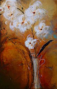 "SOLD ""All in Amber,"" by Laura Harris 24 x 36 – acrylic/mixed media $2050 Unframed"