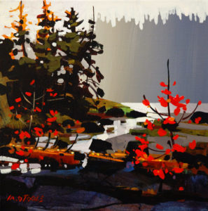 """SOLD """"Along Rivers Inlet,"""" by Michael O'Toole 12 x 12 – acrylic $815 Framed"""