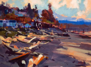"""SOLD """"Along the Rails, White Rock,"""" by Mike Svob 12 x 16 – acrylic $1265 Unframed"""