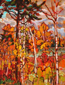 "SOLD ""Along the Yellowhead Highway,"" by Ed Loenen 11 x 14 – acrylic $695 Framed"
