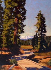"SOLD ""Alpine Walkway,"" by Ray Ward 9 x 12 – oil $745 Framed"