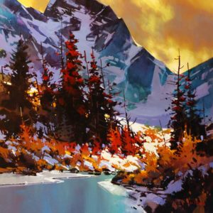 "SOLD ""Alpine Water,"" by Michael O'Toole 36 x 36 – acrylic $2910 (thick canvas wrap without frame)"