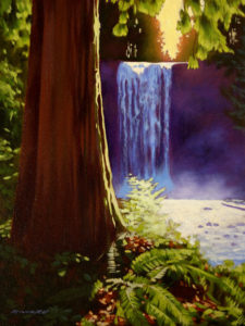"SOLD ""Ammonite Falls,"" by Ray Ward 12 x 16 – oil $995 Framed"