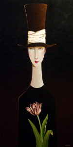 "SOLD ""Anna's Tulip,"" by Danny McBride 24 x 48 – acrylic $4100 Unframed"