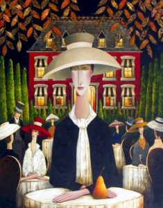 "SOLD  ""Antoinette and the Golden Pear,"" by Danny McBride 48 x 60 – acrylic $11,400 (thick canvas wrap without frame)"