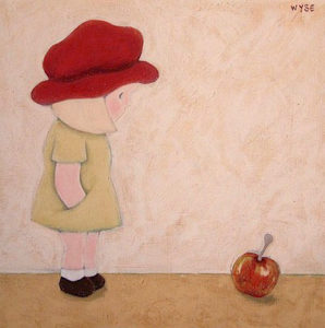 "SOLD ""The Apple,"" by Peter Wyse 18 x 18 – acrylic $725 (unframed panel  with 1 1/2"" wide edging)"