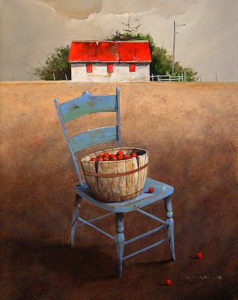 "SOLD ""Apple Barrel,"" by Mark Fletcher 16 x 20 – acrylic $1660 Framed"