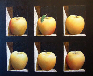 "SOLD ""Apples Cubed,"" by Danny McBride 40 x 48 – acrylic $4550 Unframed"