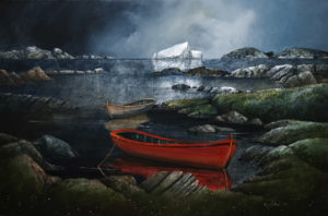 "SOLD ""April Ice on the Labrador,"" by Mark Fletcher 20 x 30 – acrylic $2090 Unframed"