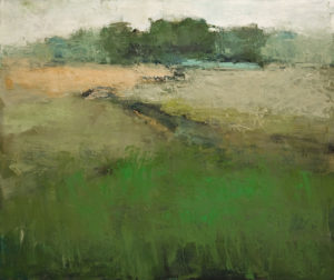 "SOLD ""Arabesque en vert No. 2,"" by Robert P. Roy (Arabesque Green No. 2) 30 x 36 – oil $1800 Unframed"