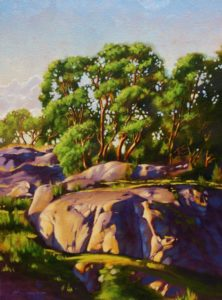 "SOLD ""Arbutus Ridge,"" by Ray Ward 12 x 16 – oil $995 Framed"