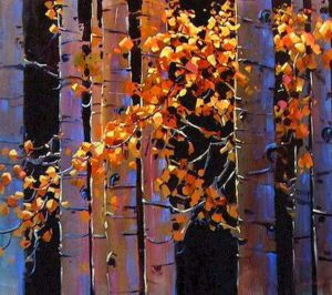 "SOLD ""Aspen,"" by Michael O'Toole 36 x 40 – acrylic $3385 Framed"