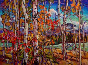"SOLD ""Aspen Sparkling in the Monashees,"" by Ed Loenen 30 x 40 – mixed media $4180 Framed"