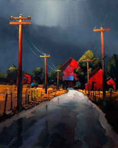 "SOLD ""At the End of the Road,"" by Michael O'Toole 24 x 30 – acrylic $2370 Unframed"