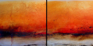 "SOLD ""Australia Calling,"" by Laura Harris Diptych – 48 x 96 overall size – acrylic/mixed media $10,500 (thick canvas wrap without frame)"