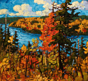 "SOLD ""Autumn, Ottawa River,"" by Rod Charlesworth 22 x 24 – oil $2080 Unframed"