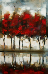 """SOLD """"Autumn Lagoon,"""" by Heather Haynes 24 x 36 – acrylic $1780 (thick canvas wrap without frame)"""