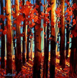 "SOLD ""Autumnal Celebration,"" by Michael O'Toole 12 x 12 – acrylic $675 Framed"