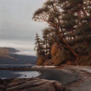 "SOLD ""Autumn Evening, Deep Cove,"" by Ray Ward 12 x 12 – oil $980 Unframed"