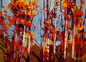 "SOLD ""Autumn Highlight,"" by Michael O'Toole 12 x 16 – acrylic $865 Framed"