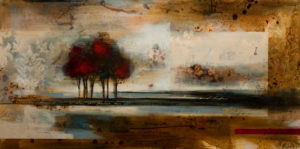 """SOLD """"Autumn Mist,"""" by Heather Haynes 24 x 48 – acrylic $2350 (thick canvas wrap without frame)"""
