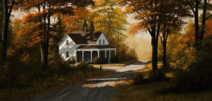 "SOLD ""Autumn Shadows,"" by Bill Saunders 15 x 30 – acrylic $3585 Framed"