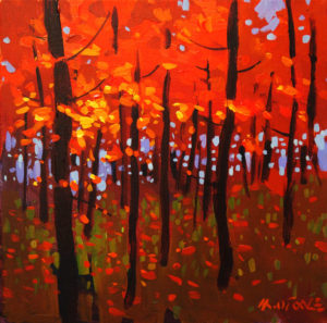 "SOLD ""Autumn's Red Leaves,"" by Michael O'Toole 12 x 12 – acrylic $815 Framed"