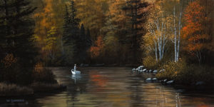 "SOLD ""Autumn Stillness,"" by Bill Saunders 8 x 16 – acrylic $800 Unframed $1025 Custom framed"