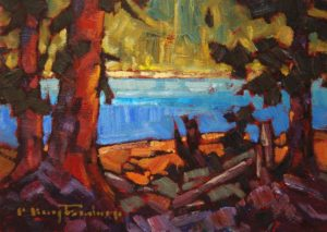 "SOLD ""Azure Lake # 1,"" by Phil Buytendorp 5 x 7 – oil $490 Framed"