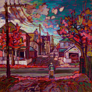 "SOLD ""Back Alley Impressions in Vancouver East,"" by Ed Loenen 24 x 24 – oil $1850 Framed"