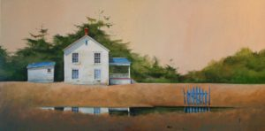 "SOLD ""Back Country Farm,"" by Mark Fletcher 24 x 48 – acrylic $3325 Framed"