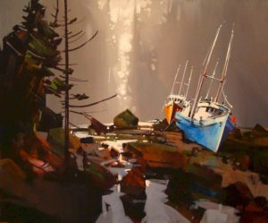 "SOLD ""Back Light on Wet Beach,"" by Michael O'Toole 20 x 24 – acrylic $1440 Framed"