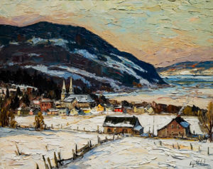 "SOLD ""Baie St. Paul,"" by Raynald Leclerc 24 x 30 – oil $2300 Unframed"