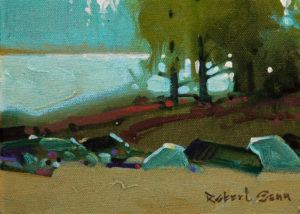 "SOLD ""Bald Indian Bay II, Lake of the Woods,"" by Robert Genn 5 x 7 – acrylic $950 Unframed $1075 Custom framed"