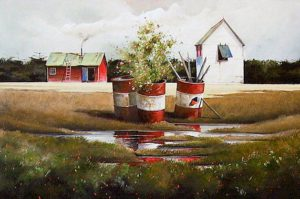 "SOLD ""Barrels at the Water's Edge,"" by Mark Fletcher 24 x 36 – acrylic $2600 Framed"