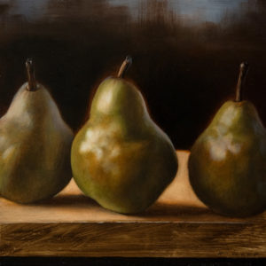 "SOLD ""Bartletts,"" by Ray Ward 8 x 8 – oil $660 Unframed"