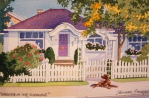 """SOLD """"Basking in the Sunshine,"""" by Michael Stockdale 4 x 6 – watercolour $170 Unframed"""