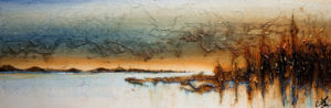 "SOLD ""Bay of Hope,"" by Laura Harris 12 x 36 – acrylic $1990 in show frame $1760 unframed (thick canvas wrap)"