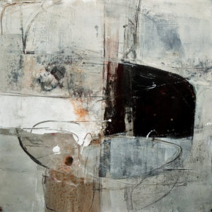 "SOLD ""Beach and Boats,"" by Susan Flaig 24 x 24 – acrylic/graphite $1220 Unframed"