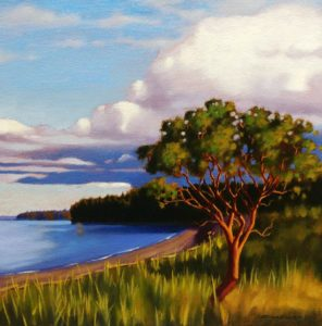 "SOLD ""Beachside Arbutus,"" by Ray Ward 12 x 12 – oil $885 Framed"