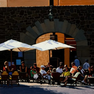 "SOLD ""Beachside Cafe, Collioure,"" by Ray Ward 6 x 6 – oil $360 Unframed"