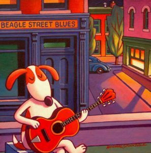 "SOLD ""Beagle Street Blues,"" by Michael Stockdale 10 x 10 – acrylic $345 Unframed (thick canvas wrap without frame)"