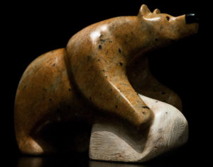 "SOLD ""Bearly Rock Climbing,"" by Vance Theoret 9"" (L) x 6 1/2"" (H) - Brazilian soapstone $600"