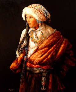 "SOLD ""Beautifully Dressed,"" by Donna Zhang 30 x 36 – oil $7200 Custom framed"
