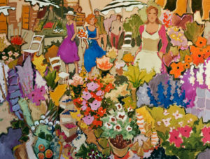 "SOLD ""The Beautiful Season … at the Market,"" by Claudette Castonguay 30 x 40 – acrylic $2400 Unframed"