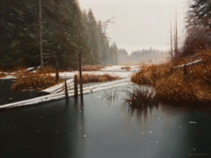 "SOLD ""Beaver Pond in December,"" by Ray Ward 12 x 16 – oil $1170 Unframed"