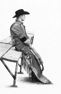 """SOLD """"Before the Ride,"""" by Jim Nedelak 11 3/4 x 20 - charcoal drawing $2650 Framed"""
