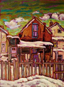 "SOLD ""Behind Chinatown,"" by Ed Loenen 12 x 16 – oil $885 Framed"